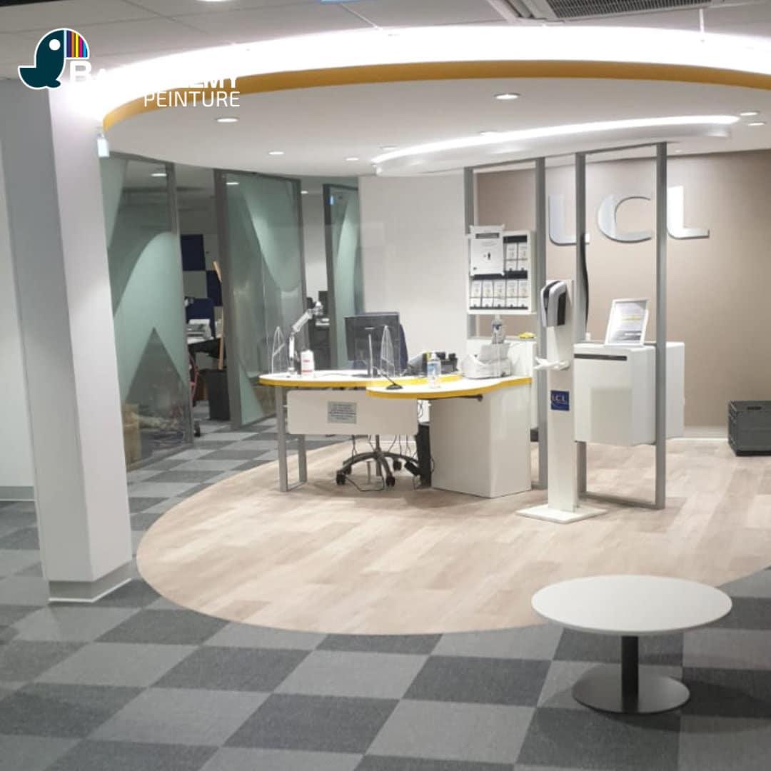 Création d'une ellipse en placo pour la banque LCL de Orthez (64)